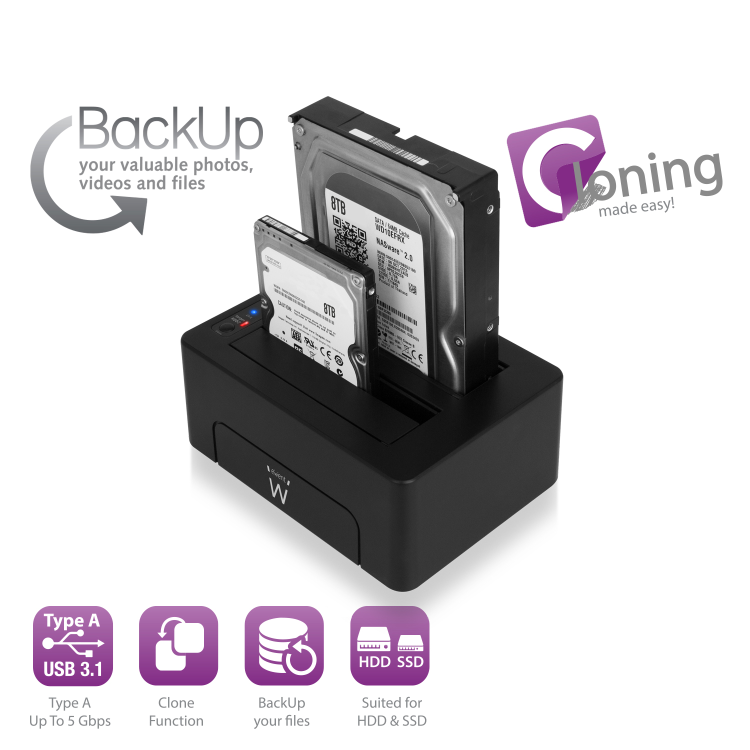 DOCKING STATION SATA USB3.1 DUAL EW7014
