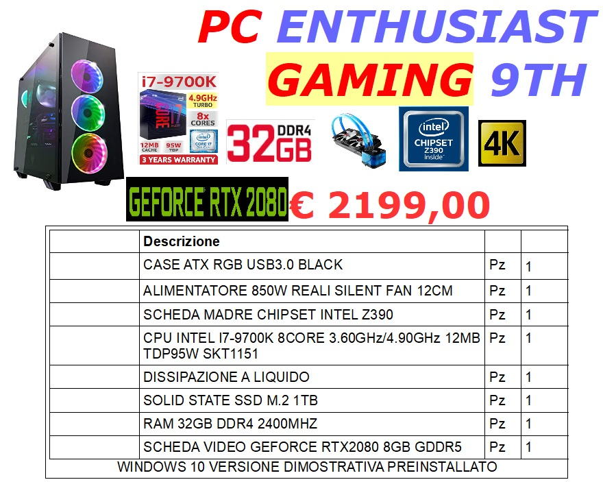 PC I7 ENTHUSIAST GAMING 9TH