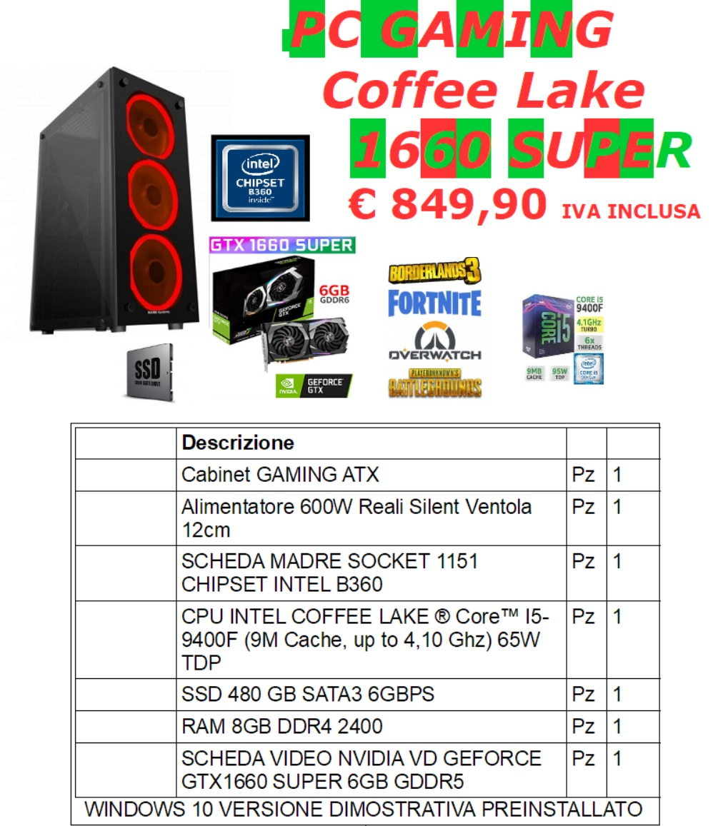 PC GAMING COFFEE LAKE 1660 SUPER