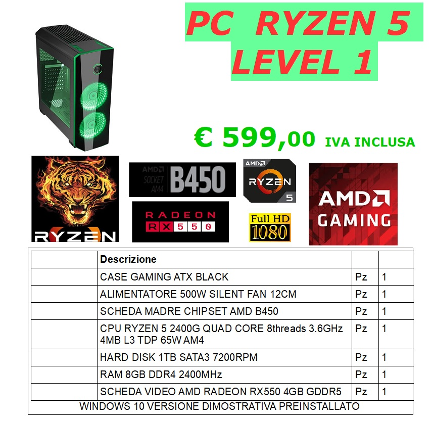 PC GAMING RYZEN 5 LEVEL 1