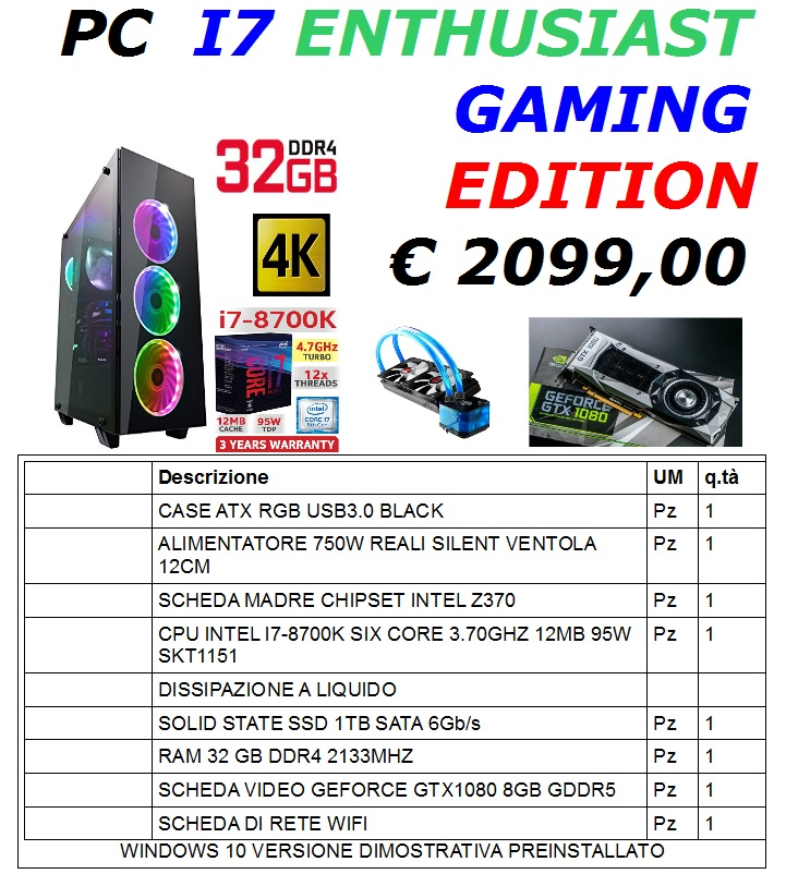 PC I7 ENTHUSIAST GAMING EDITION